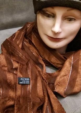 Красивый коричневый шарфик шелк 100%