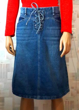 Крутая джинсовая юбка миди со шнуровкой от tu