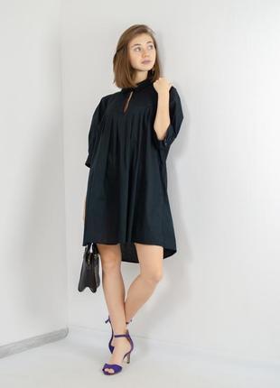Bruuns bazaar свободное черное мини платье с коротким рукавом,...