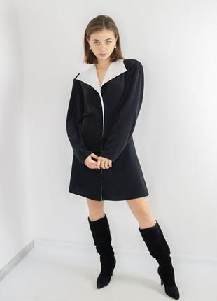 Черное короткое платье - фрак на пуговицах, мини плаття, сукня...
