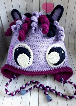 Теплая детская шапка для девочки Понни
