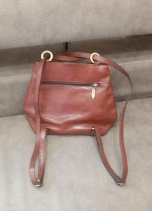 Рыжая стильная брендовая сумка рюкзак ashley jones---2в одном....