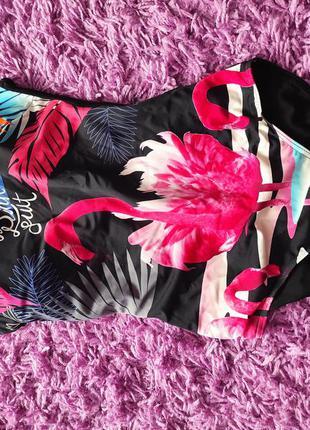 Купальник сдельный с фламинго