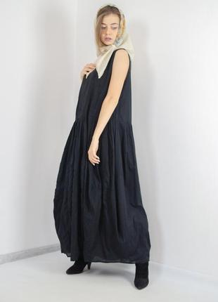 Ivan grundahl черное хлопковое свободное дизайнерское платье к...