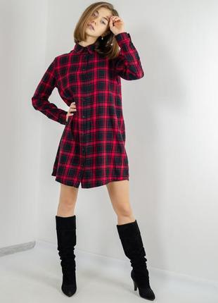 Tezenis короткое платье - рубашка в клетку с длинным рукавом, ...