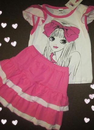 Детская футболка с юбкой для девочки