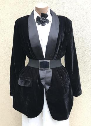 Чёрный,бархатный,велюровый жакет,пиджак,блейзер,большой размер