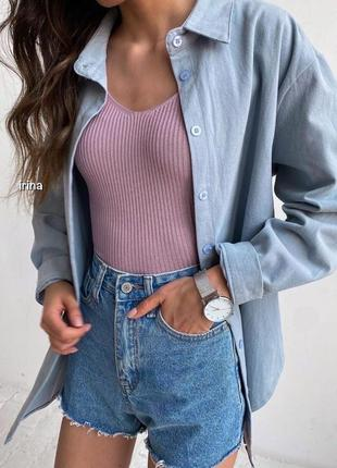 Летняя льняная рубашка с длинным рукавом , голубое