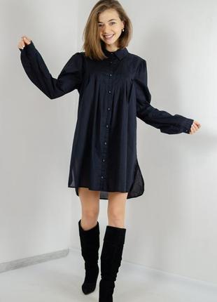 Bruuns bazaar свободное черное мини платье рубашка,туника овер...