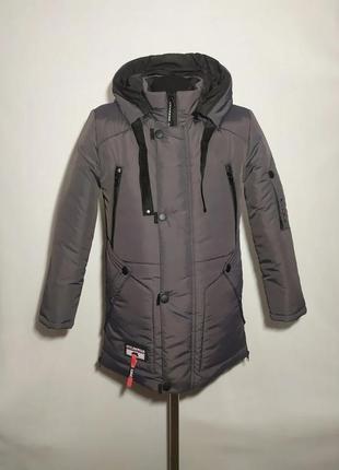 Зимняя подростковая куртка для мальчика удлиненная на синтепон...