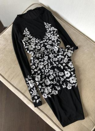 Шикарное платье сетка с вышивкой прозрачное