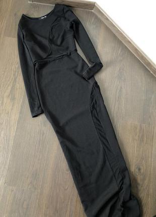 Платье макси с прозрачными вставками
