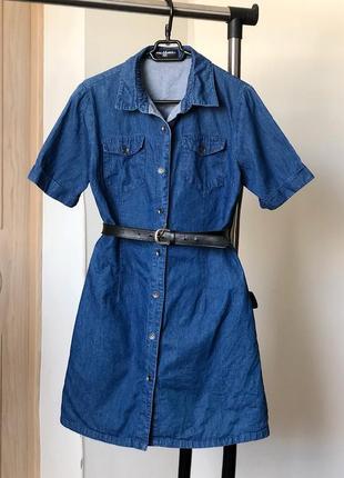 Джинсовое платье- рубашка на пуговицах