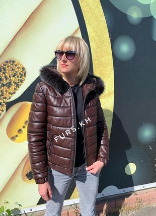 Кожаная женская куртка, кожаная куртка пуховик