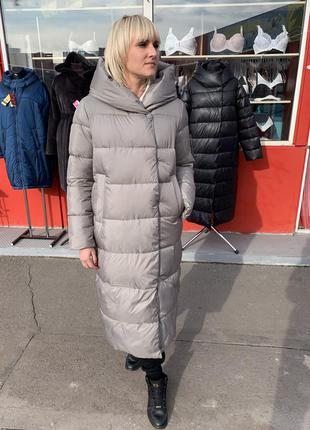 Женский пуховик, зимнее пальто, пуховик оверсайз, женский длин...