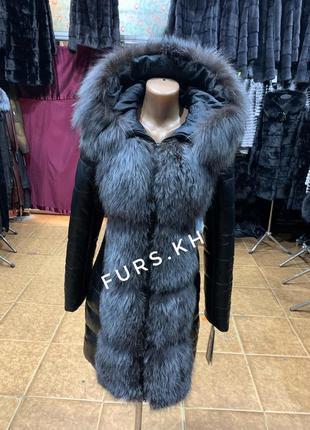 Кожаный пуховик, кожаный пуховик с мехом чернобурки, куртка с ...