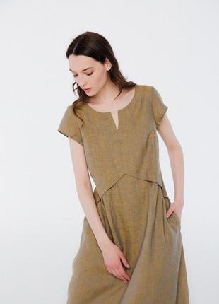 Летнее платье из льна season горчичного цвета