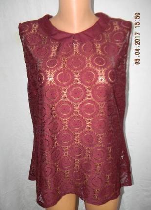 Кружевная блуза цвета марсала большого размер