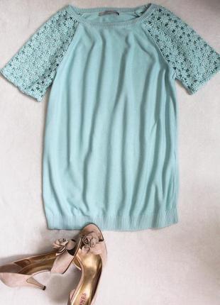 Нежно-голубая блузочка с ажурным рукавчиком от george, размер m/l