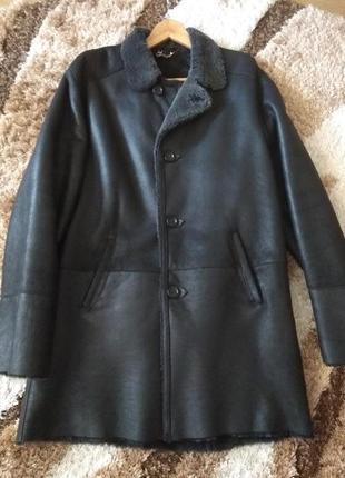 Новая мужская дубленка удлиненная куртка пальто