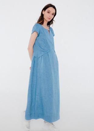 Шикарное платье из льна season ультрамарин