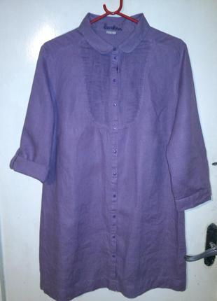 100% лён-натуральное,розовато-сиреневое платье-рубашка,рукав 2...