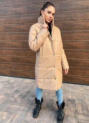 Кожаная длинная куртка пальто есть размеры