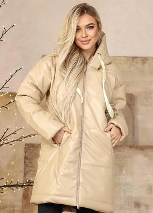 Шикарная кожаная длинная куртка пальто