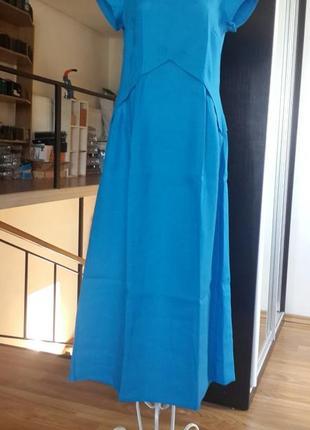 Летнее платье из льна season в стиле бохо цвет ультрамарин