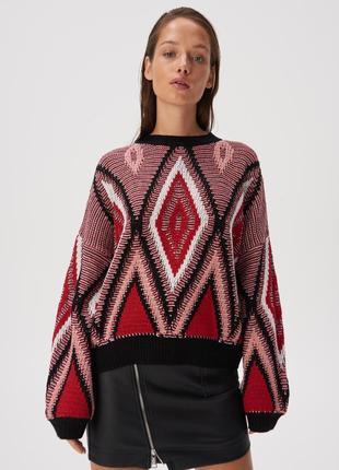Новая широкая красная кофта свитер джемпер черный узор орнамен...
