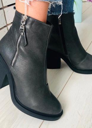 Демисезонные женские ботинки, кожаные на небольшом каблуке 💥