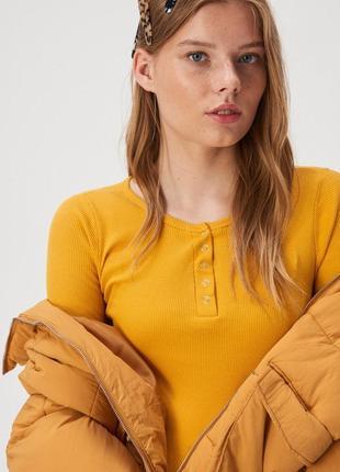 Новая базовая оранжевая желтая кофта темно-желтая блузка польш...