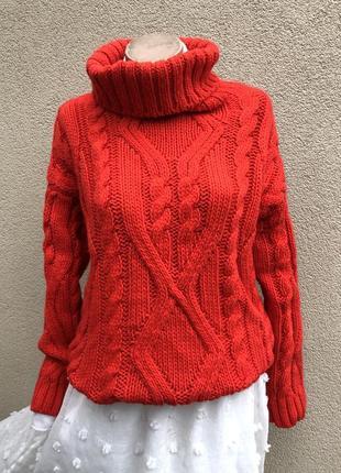 Красный,тёплый,вязаный свитер,кофта в косы,водолазка,