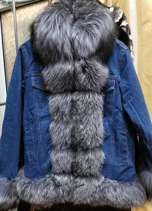 🔥хит этого сезона джинсовая парка с натуральным мехом чернобур...