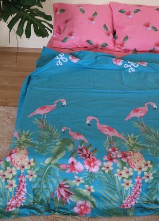 Постельное белье фламинго. двуспальный евро