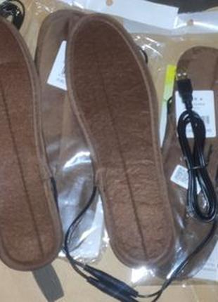 Теплые стельки для обуви с подогревом от USB Коричневые