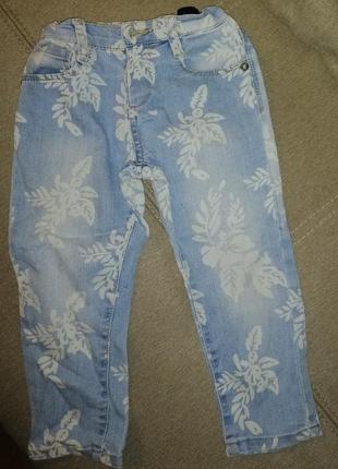Детские джинсы с потертостями для девочки