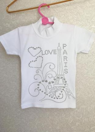 Белоснежная футболка на девочку 110/116 размер