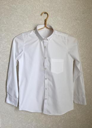 Белая рубашка на длинном рукаве на мальчика 10-11 лет