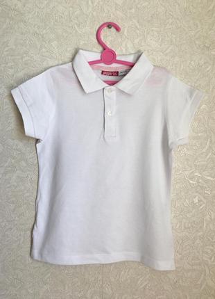Белая школьная футболка поло на девочку 9-10 лет