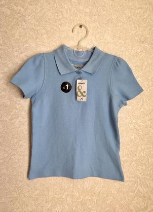 Голубая футболка поло на девочку 5-8 лет, новая с биркой.