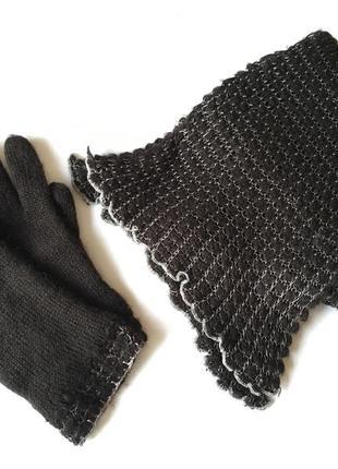 Тёплые красивые перчатки, шарф в подарок