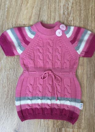 Теплый джемпер, свитер туника  на девочку 3-4 года.