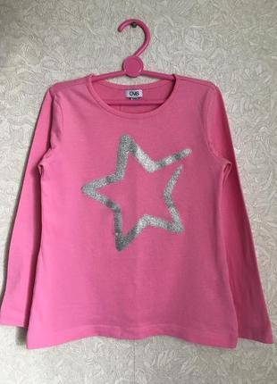 Розовый красивый реглан, лонгслив с принтом на девочку 6-7 лет...