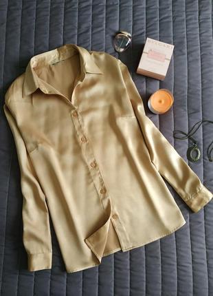 Базовая рубашка, блуза (100% вискоза) медовый оттенок