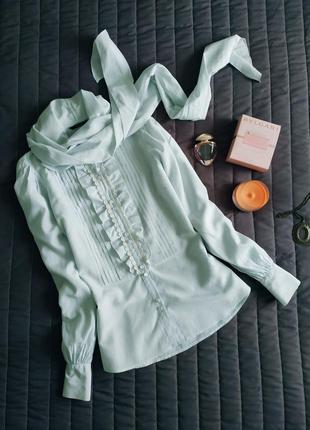 Шелковая блуза, рубашка (51% шелк, 49% хлопок) бледно голубой
