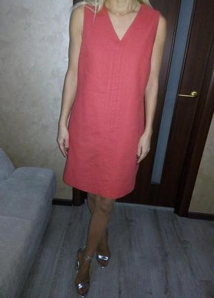 Шикарное коралловое льняное платье v вырез💃🏼