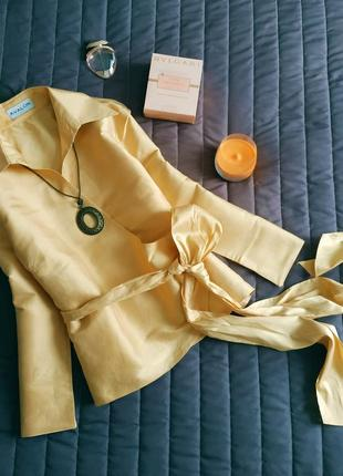 Шелковая блуза на запах (100% шелк) золото