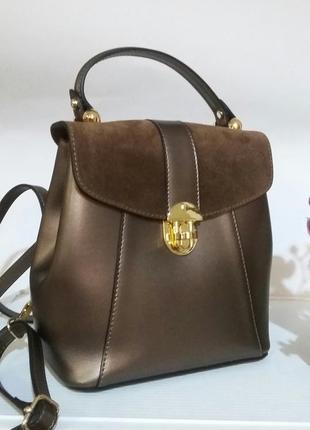Замечательная кожаная сумка-рюкзак с замшевыми вставками шикар...