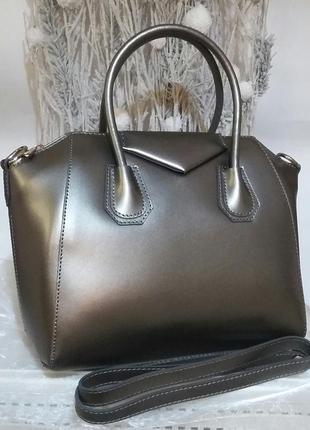 Элегантная сумка в стиле givenchy, шикарный цвет темное серебро